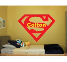 Superman Name Wall Quote Sign Vinyl Decal Sticker Bat Man batman dark knight spiderman avengers marvel comics super disney robin large big by ColtonsPlace on Etsy https://www.etsy.com/listing/210966332/superman-name-wall-quote-sign-vinyl