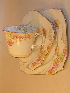 Art Deco Paragon Bone China Rythmic Pattern Tea Trio - vintage - Jewelled