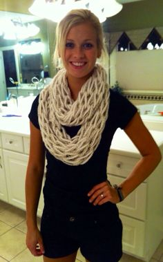 Cream with Tan/White Accent Arm Knit by MorgsCreativeOutlet