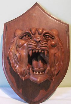 Vintage Chinese Asian TIGER HEAD Carved Wooden PLAQUE