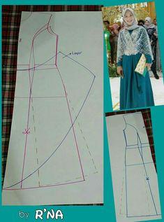 Dress Sewing Patterns, Clothing Patterns, Dress Muslim Modern, Pattern Draping, Lehnga Dress, Pattern Cutting, Sewing Clothes, Refashion, Hijab Fashion