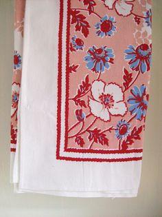 Vintage Tablecloth Cottage Style Pink by AletaFordBakerDesign, $15.00