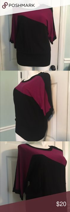 Cable & Gauge black and purple sweater Lightweight sweater. Banded bottom to fit all body types. NWT Cable & Gauge Tops