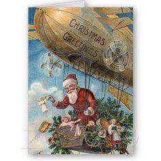 Airship Santa Christmas Cards