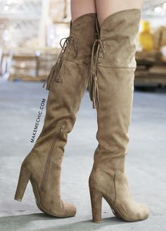 Chunky Fringe Suede Boots TAUPE