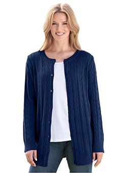 090ec1bb950fa Womens Plus Size Cabled Cardigan Sweater Navy1X     Details can be found by  clicking