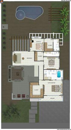 Quarto suíte de casal perfeito Duplex House Plans, Dream House Plans, House Floor Plans, My Dream Home, Layouts Casa, House Layouts, Sims 4 House Building, Sims House, Small House Layout
