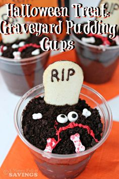 Halloween Treat Graveyard Pudding Cups With Halloween right around the corner, this will be a HUGE hit as a classroom treat or upcoming Halloween party! Plus with only 4 ingredients, you can't go wrong with EASY and Budget-friendly snack!! Click through for the recipe.. A Mitten Full of Savings