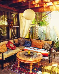 #backporch #gypsy #boho #pillows #vintagerug #porches #eclectic #design #outdoor #sectional #turkish