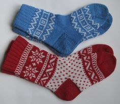 2 pairs red white blue warm fall autumn winter Scandinavian pattern knit wool short socks CUSTOM MADE