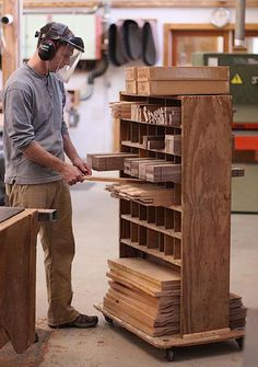 Take some inspiration from these amazing Timber Storage Solutions. You'll find something here, no matter the size of your woodworking shop. Lumber Storage Rack, Lumber Rack, Garage Tool Storage, Workshop Storage, Workshop Organization, Home Workshop, Plywood Storage, Workshop Plans, Woodworking Workshop