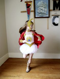 Day 17 Halloween Costume Idea: She-ra Kids Costume DIY (with free pattern printable) (The Paper Mama) Easy Diy Costumes, Halloween Costumes For Kids, Halloween Party, Costume Ideas, Costumes Kids, Halloween 2018, Halloween Makeup, Book Costumes, Family Costumes