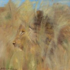 Lion in the Bush impressionist painting in acrylic on canvas by Gillian Theunissen Horsley. I saw this lion when on safari and snapped a photo to inform my painting. I love the use of texture and am particularly pleased with the way you see his eye in the middle of the veld.