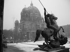 Berlin Cathedral in the snow.