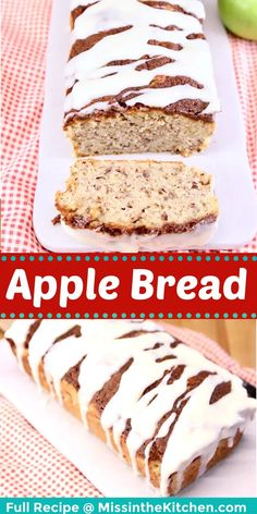 Apple Bread is the very best of fall baking. Warm spices with tart apples, crunchy pecans, cinnamon sugar topping and a rich cream cheese drizzle make this quick bread a favorite for breakfast or dessert. Best Apple Recipes, Easy Homemade Recipes, Quick Bread Recipes, Easy Bread, Favorite Recipes, Delicious Breakfast Recipes, Yummy Food, Yummy Recipes, Apple Dump Cakes