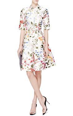 Floral-Print Cotton and Silk-Blend Dress by Oscar de la Renta - Moda Operandi