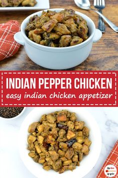 Indian Style Pepper Chicken Recipe (dry version) made by marinating boneless chicken pieces in black pepper & fennel spice powder, and then roasting it with south Indian style tempering, onions, ginger and garlic. Chicken Recipes Restaurant Style, Chicken Lunch Recipes, Recipes With Chicken And Peppers, Indian Chicken Recipes, Chicken Stuffed Peppers, Veggie Recipes, Indian Food Recipes, Chicken Meals, Veggie Food