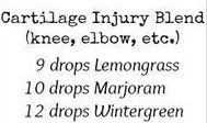 Cartilage Injury: Knee, elbow, etc lemongrass marjoram wintergreen