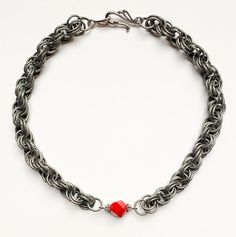 Red Crystal Double Spiral Pewter Necklace by VexedUpBoutique Jewelry Design, Unique Jewelry, Wire Art, Chainmaille, Semi Precious Gemstones, Czech Glass, Pewter, Spiral, Jewellery