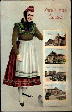 Ansichtskarte / Postkarte Kassel, Trachten Hessen, Rathaus, Hoftheater