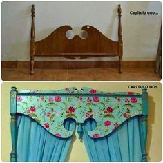 Cute idea to upcycle an old headboard as valance Plywood Furniture, Repurposed Furniture, Furniture Projects, Furniture Makeover, Painted Furniture, Diy Furniture, Old Headboard, Refurbished Headboard, Painted Headboards