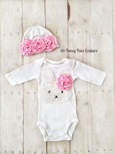 Easter Bunny Outfit Baby Girl Newborn Take Home Outfit Pink Rosette Baby Hat Little girls Easter clothes baby girl newborn