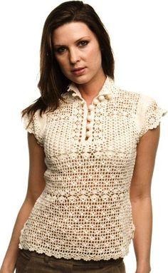 Delicadezas en crochet Gabriela: Blusas y chal de motivos