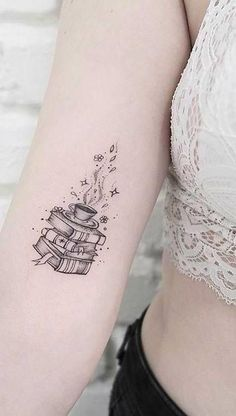 Book tattoo 23 Awesome Tattoo Ideas for Book Lovers Party Tattoos, 13 Tattoos, Mini Tattoos, Cute Tattoos, Body Art Tattoos, Small Tattoos, Awesome Tattoos, Arm Tattoos Forearm, Inner Arm Tattoos