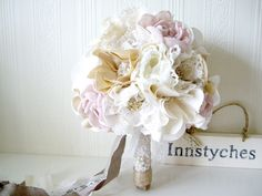 Alternative wedding bouquet - Fabric Flower Bouquet with Vintage Rhinestone Brooches and Lace - Rustic chic weddings. £175.00, via Etsy.