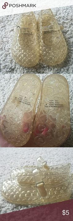 Toddler jelly shoes size 4 Toddler girls yellow glitter jelly shoes. Good condition, size 4. The Children's Place Shoes