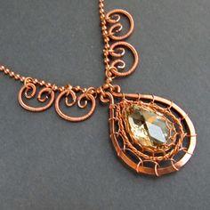 Copper Wire Jewelry | Eylene Olsen - Work Detail: Copper Wire Woven Pendant Necklace