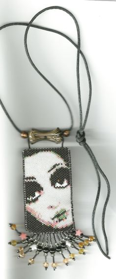 peyote beaded face necklace