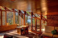 Living Room - Peterson Cottage / E9982 Fern Dell Road, Lake Delton,Wisconsin / 1958 / Usonian / Frank Lloyd Wright -- Peterson, a computer programmer with limited resources himself, began construction in '58 doing much of the work on his own.