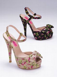 "Betsey Johnson Floral Bow Sandal: Bow on front and on side of ankle strap. Imported leather. 4 1/4"" heel with 3/4"" platform.    $140"