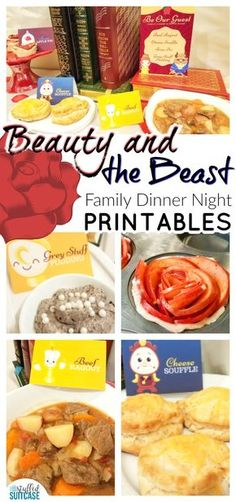 Plan something special for your next family movie night with these Beauty and the Beast Family Movie Night Dinner ideas including recipes & printables! Beauty and the Beast Family Movie Night Dinner Printables Beauty and the Beast family fun night Disney Family Movies, Disney Princess Movies, Disney Inspired Food, Disney Food, Disney Themed Food, Dinner Themes, Dinner Ideas, Dinner Parties, Meal Ideas
