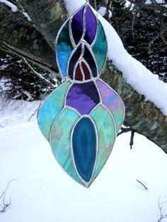 Peacock Goddess Stained Glass Suncatcher by GothicGlassStudio, $75.00