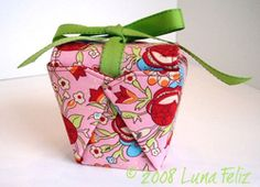 Fabric Chinese Take Out Box. This is a fabulous way to wrap small gifts. It could also be a small sewing kit, or even enlarged for a purse. I have several sizes of templates, so will be very easy to make them up.