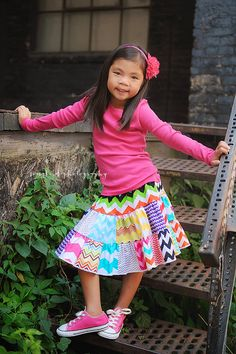 The MUST HAVE - chevron twirl 2 tier patchwork  toddler girls skirt  2T - 6Y on Etsy, $28.00