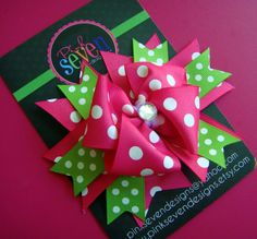 PINK and GREEN Dot Boutique Bow
