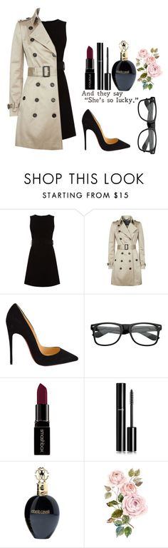 """""""SHE IS LUCKY"""" by zaria-cheyanne ❤ liked on Polyvore featuring Warehouse, Burberry, Christian Louboutin, Smashbox, Chanel, Roberto Cavalli, women's clothing, women, female and woman"""
