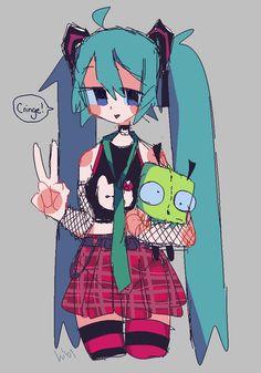 Arte Do Kawaii, Kawaii Art, Cute Art Styles, Cartoon Art Styles, Vocaloid, Character Art, Character Design, Pastel Goth Art, Emo Art