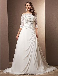 Plus Size Wedding Dress A Line Court Train Chiffon Off the Shoulder With Illusion Sleeves and Beading Appliques Easebuy! Free Measurement!