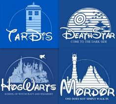 Disney logo remade- Tardis, Death Star, HogWarts, Mordor by Mustang_Sally