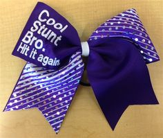 """Cool Stunt Bro, Hit It Again"" Bow by Empire Cheer, $15.00 #cheerbow #bow #hairbow @Tiffanie Diane"