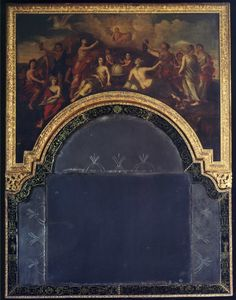A HIGHLY IMPORTANT VERRE EGLOMISÉ MIRROR, THE CARVED FRAME ATTRIBUTED TO THOMAS AND RENÉ PELLETIER  English. Circa 1705.     Measurements: Height: 73″ (185cm) Width: 56 1/2″ (144cm) Depth: 2″ (5cm)   Carlton Hobbs