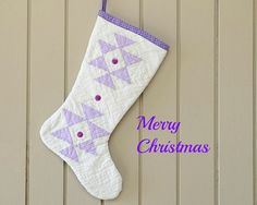 Christmas Stocking Vintage Quilt 1930s Quilt Lavender by CUSHgoods, $25.00