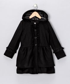 Take a look at this Black Wool-Blend Coat - Toddler on zulily today!