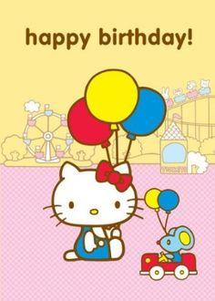Hello Kitty, Happy Birthday Greetings Card, Theme Park