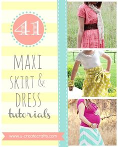 The best DIY projects & DIY ideas and tutorials: sewing, paper craft, DIY. DIY Women's Clothing : 41 Amazing Maxi Skirt and Dress Tutorials www.u-createcraft. Dress Tutorials, Sewing Tutorials, Sewing Patterns, Skirt Patterns, Blouse Patterns, Diy Clothing, Sewing Clothes, Dress Sewing, Sewing Hacks