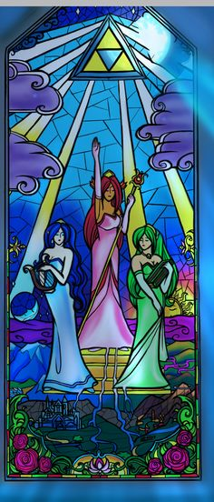 Sacred Hyrule Stained Glass by Lydween. - Farore, Din, and Nayru.